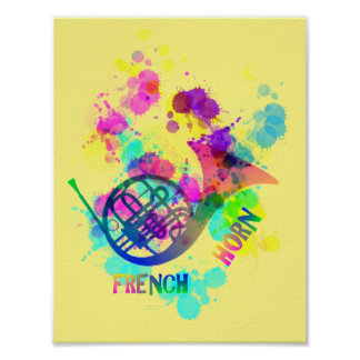 Rainbow French Horn Music Themed Poster