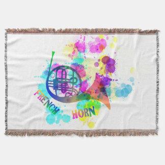 Rainbow French Horn Music Themed Throw Blanket