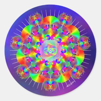 Rainbow Frequencies Classic Round Sticker