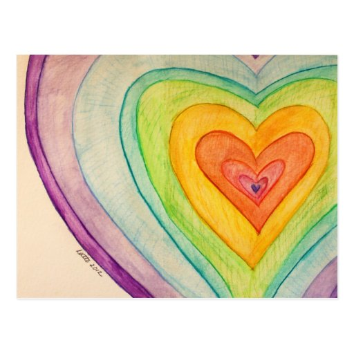 Rainbow Friendship Hearts Postcards or Cards