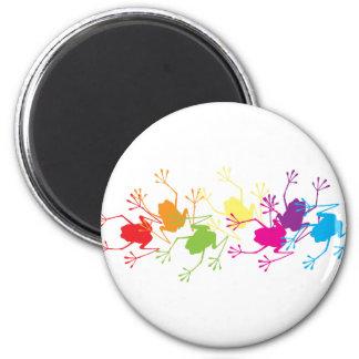 Rainbow Frogs 6 Cm Round Magnet
