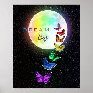 Rainbow Full Moon & Rainbow Butterflies Dream Big Poster