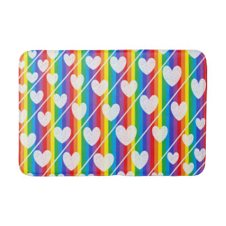 Rainbow Full of Hearts Bath Mat