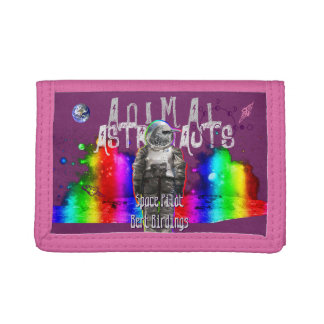 Rainbow Galaxy Bird Animal Astronauts Trifold Wallet
