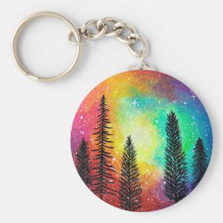 Rainbow Galaxy Keychain - Rainbow Forest Keychain