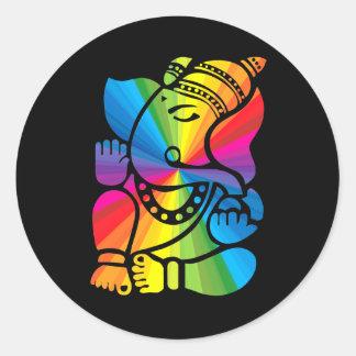 Rainbow Ganesha Classic Round Sticker