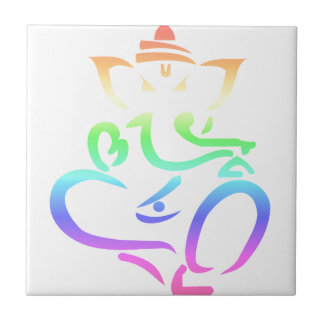 Rainbow Ganesha Small Square Tile
