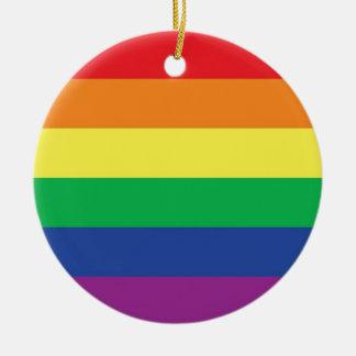 Rainbow Gay Freedom Pride Flag Symbol Round Ceramic Decoration
