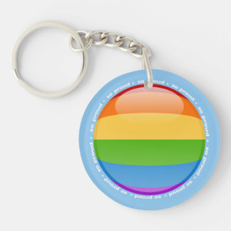 Rainbow Gay Lesbian Pride Bubble Flag Double-Sided Round Acrylic Key Ring
