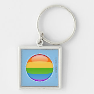 Rainbow Gay Lesbian Pride Bubble Flag Silver-Colored Square Key Ring
