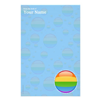 Rainbow Gay Lesbian Pride Bubble Flag Stationery Paper