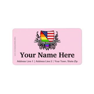 Rainbow Gay Lesbian Pride Shield Flag Address Label