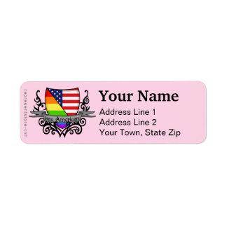 Rainbow Gay Lesbian Pride Shield Flag Return Address Label