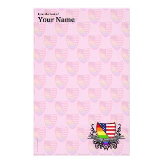 Rainbow Gay Lesbian Pride Shield Flag Personalized Stationery
