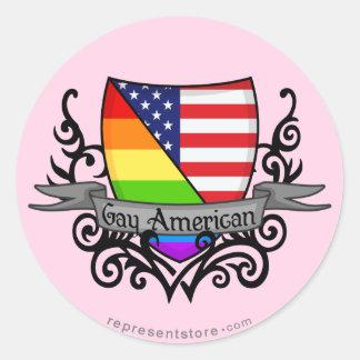 Rainbow Gay Lesbian Pride Shield Flag Round Sticker