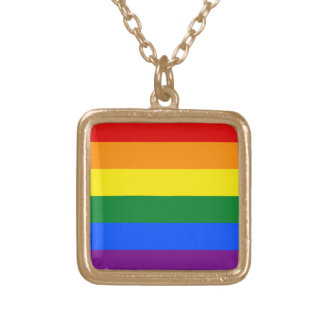 Rainbow Gay Lesbian Trans Queer LGBTQ Pride Flag Gold Plated Necklace