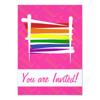 Rainbow Gay Pride Brush Flag 13 Cm X 18 Cm Invitation Card