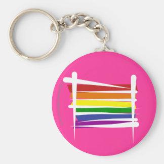 Rainbow Gay Pride Brush Flag Basic Round Button Key Ring