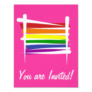 "Rainbow Gay Pride Brush Flag 4.25"" X 5.5"" Invitation Card"
