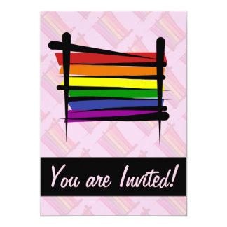 Rainbow Gay Pride Brush Flag Custom Invitations
