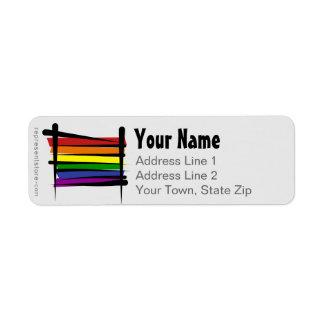 Rainbow Gay Pride Brush Flag Return Address Label