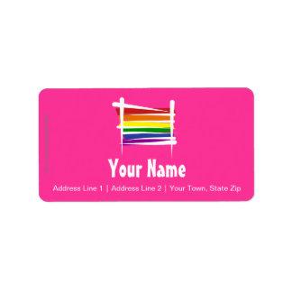 Rainbow Gay Pride Brush Flag Address Label