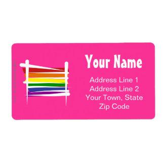 Rainbow Gay Pride Brush Flag Shipping Label