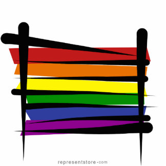 Rainbow Gay Pride Brush Flag Standing Photo Sculpture
