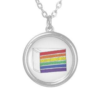 Rainbow Gay Pride Layer Cake Slice Necklace