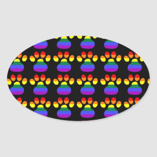 Rainbow Gay Pride Paws Oval Sticker