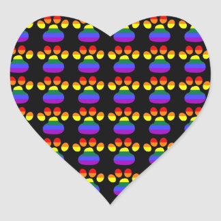 Rainbow Gay Pride Paws Heart Stickers