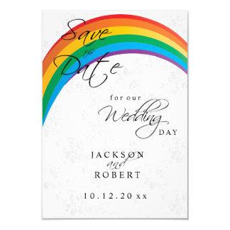 Rainbow Gay Save the Date 9 Cm X 13 Cm Invitation Card