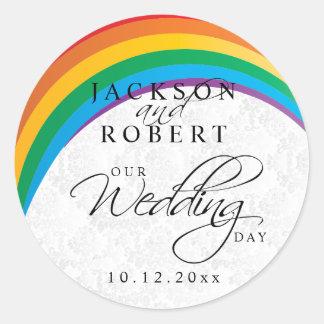 Rainbow Gay Wedding Round Sticker