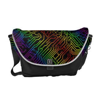 Rainbow Geek Circuit Board Pattern Courier Bag