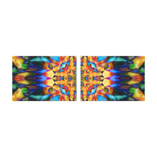Rainbow Geometric Floral Colorful Unique Art Gallery Wrapped Canvas