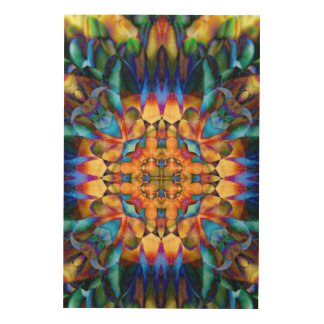 Rainbow Geometric Floral Colorful Unique Art Wood Canvas