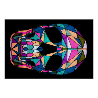 Rainbow Geometric Skull poster