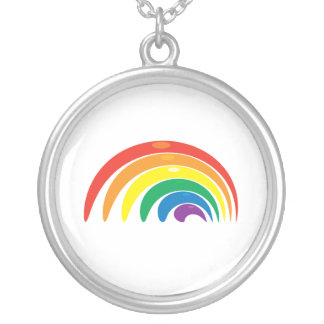 Rainbow Geometry Silver Plated Necklace