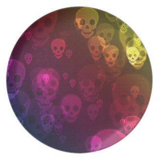 Rainbow Ghostly Skulls Plate