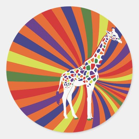 Rainbow Giraffe Art Classic Round Sticker