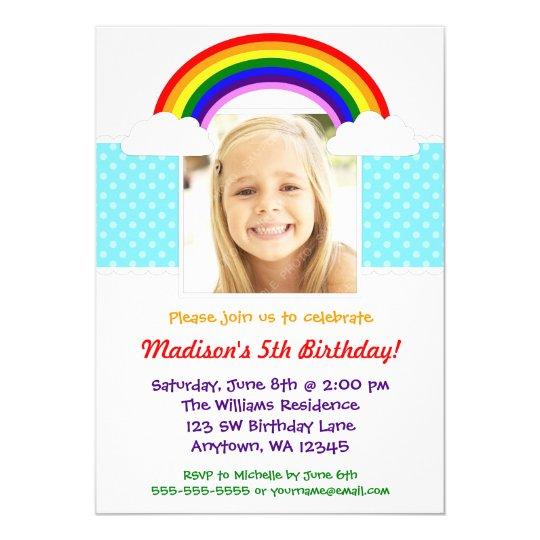 Rainbow Girl Photo Birthday Party Invitation