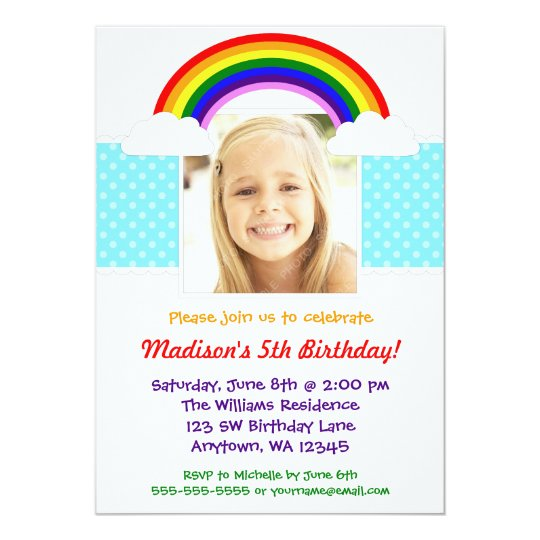 Rainbow Girl Photo Birthday Party Invitation