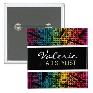 Rainbow Glam Hair Salon Name Badge Pinback Buttons