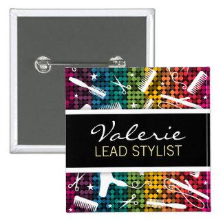 Rainbow Glam Hair Salon Name Badge Pins