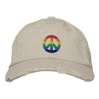 Rainbow GLBT Peace Sign Hat Embroidered Cap
