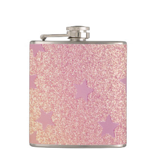 Rainbow Glitter and Stars Hip Flask