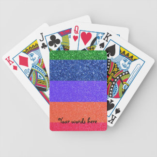Rainbow glitter bicycle playing cards
