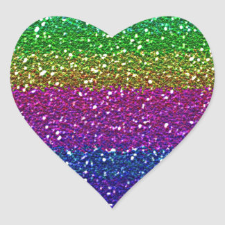 Rainbow glitter heart sticker