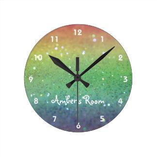 Rainbow Glitter Kid's Bedroom Round Clock