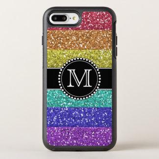 Rainbow, Glitter, Monogrammed OtterBox Symmetry iPhone 7 Plus Case